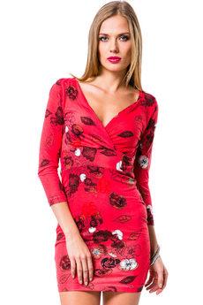 Красное платье с v образным вырезом Mondigo со скидкой