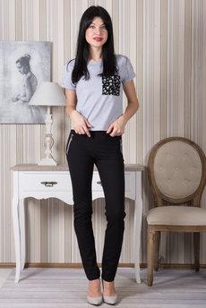 Черные брюки на резинке Трикотажница