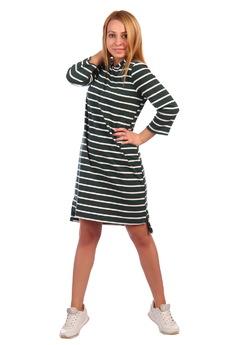 Зеленое платье в полоску с капюшоном ElenaTex со скидкой