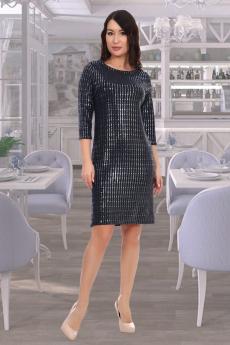 Черное платье с синими блестками Натали